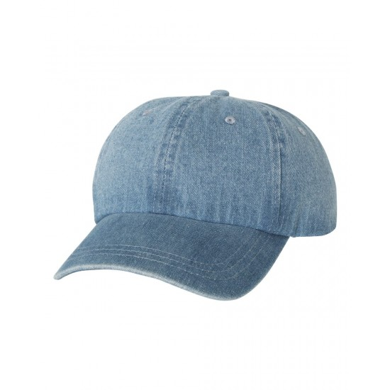 EMBROIDERED MEGA CAP WASHED DENIM CAP
