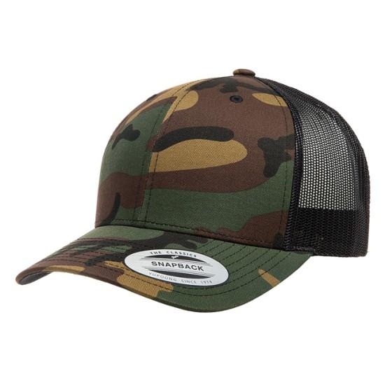 EMBROIDERED CAMO RETRO TRUCKER CAP