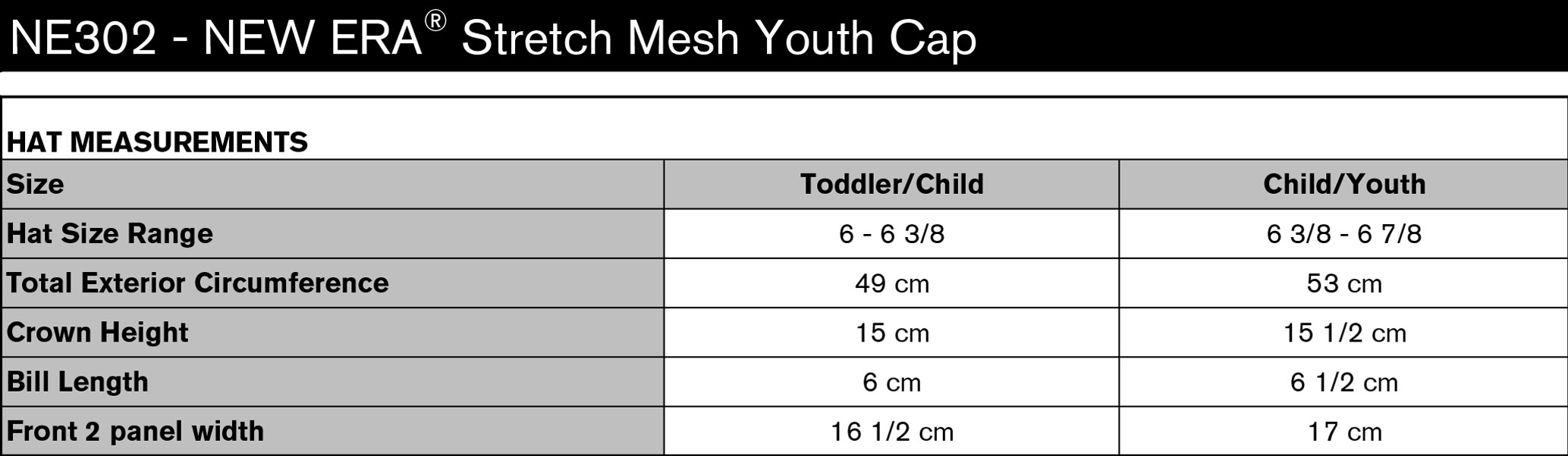 New Era Stretch Mesh Child Cap Specs Sheet
