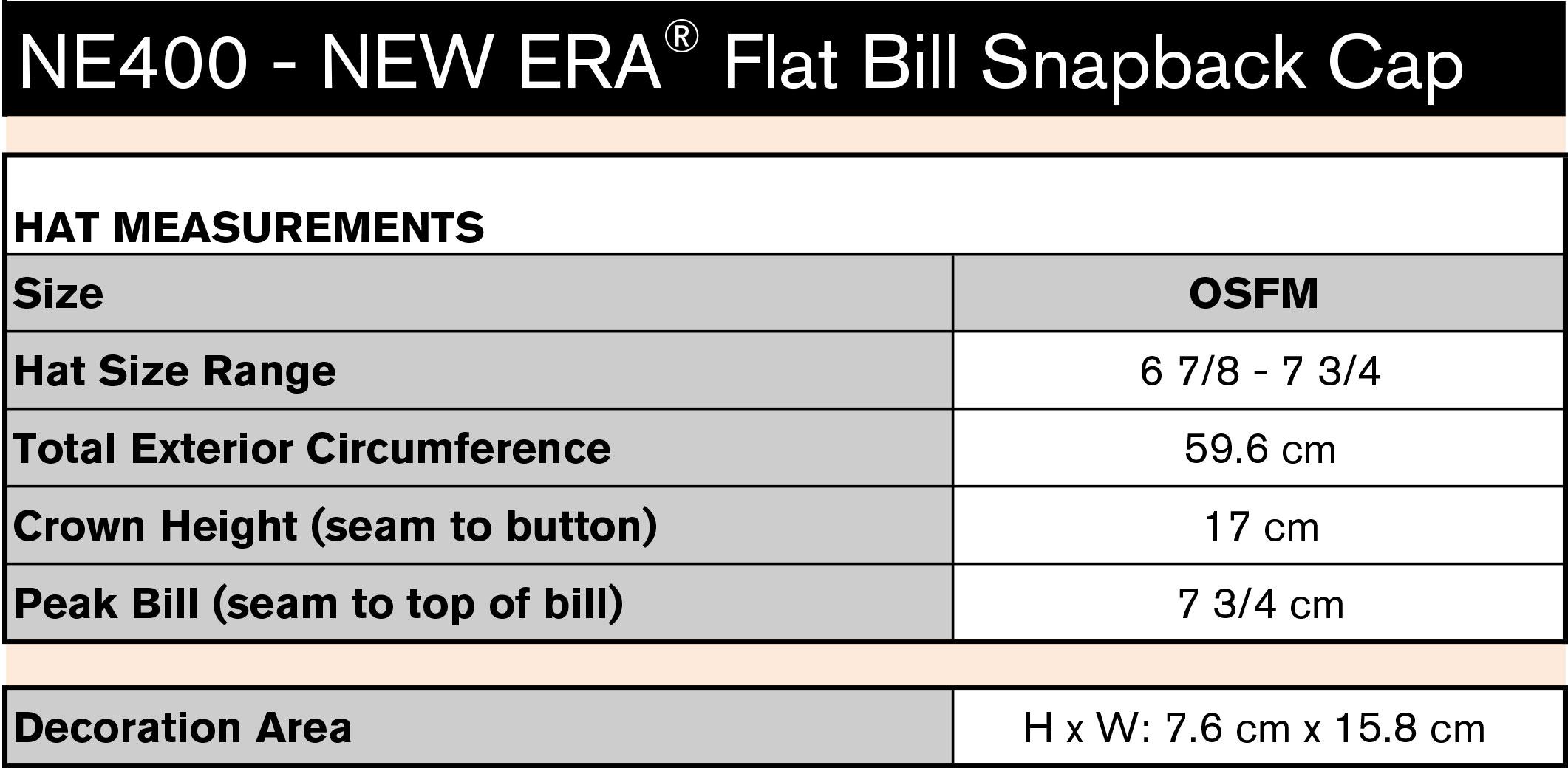 NE400 Size Chart